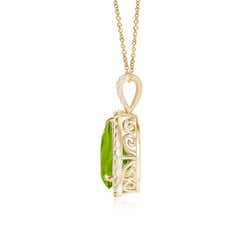 Toggle Peridot Teardrop Pendant with Diamond Halo