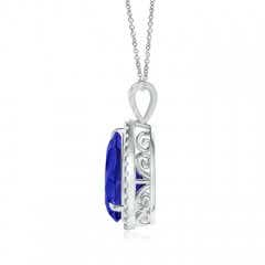 Toggle Tanzanite Teardrop Pendant with Diamond Halo
