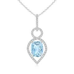 Cushion Aquamarine Infinity Drop Pendant with Diamonds