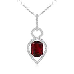 Cushion Garnet Infinity Drop Pendant with Diamonds