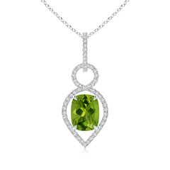 Cushion Peridot Infinity Drop Pendant with Diamonds