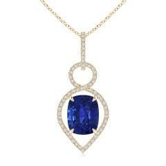 GIA Certified Cushion Sapphire Infinity Drop Pendant