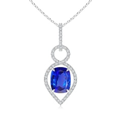 Cushion Tanzanite Infinity Drop Pendant with Diamonds