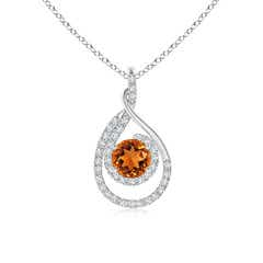 Double Loop Twist Citrine and Diamond Halo Pendant