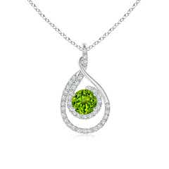 Double Loop Twist Peridot Pendant with Diamonds