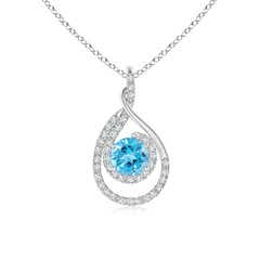 Double Loop Twist Swiss Blue Topaz Pendant with Diamonds