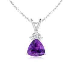 Trillion Amethyst Solitaire Pendant with Trio Diamonds