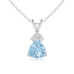 Trillion Aquamarine Solitaire Pendant with Trio Diamonds