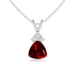 Trillion Garnet Solitaire Pendant with Trio Diamonds