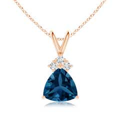 Trillion London Blue Topaz Pendant with Trio Diamonds
