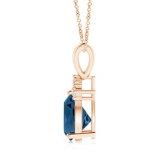Toggle Trillion London Blue Topaz Pendant with Trio Diamonds