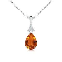 Claw Set Pear Citrine Drop Pendant with Trio Diamonds