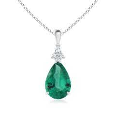 Claw-Set GIA Certified Emerald Drop Pendant with Diamonds