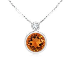 Bezel-Set Citrine Solitaire Pendant with Diamond
