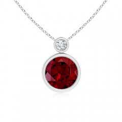 Classic Solitaire Garnet Bezel Pendant with Diamond