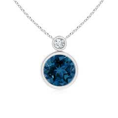Bezel-Set London Blue Topaz Solitaire Pendant with Diamond