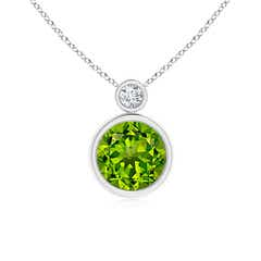 Bezel-Set Peridot Solitaire Pendant with Diamond