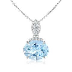 Claw Set Oval Aquamarine Solitaire Pendant with Diamond Accents