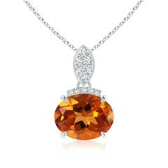 Claw Set Oval Citrine Solitaire Pendant with Diamond Accents