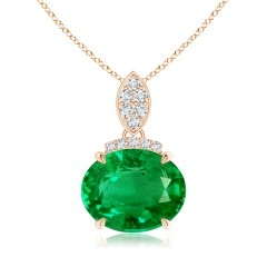 East-West GIA Certified Emerald Pendant with Diamond Bale