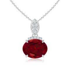 Claw Set Oval Garnet Solitaire Pendant with Diamond Accents