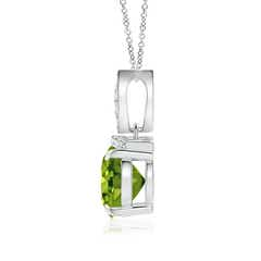 Toggle East-West Peridot Pendant with Diamond Bale