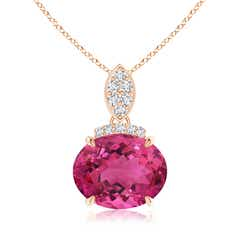 East-West Pink Tourmaline Pendant with Diamond Bale