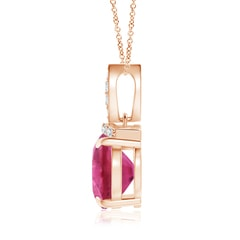 Toggle East-West Pink Tourmaline Pendant with Diamond Bale