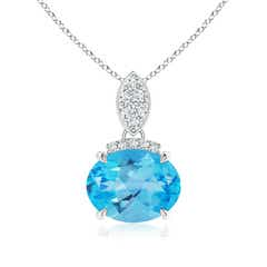 East-West Swiss Blue Topaz Pendant with Diamond Bale