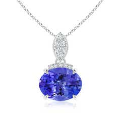 East-West Tanzanite Pendant with Diamond Bale