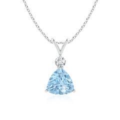 Trillion Aquamarine Solitaire Pendant with Diamond