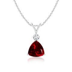 Trillion Garnet Solitaire Pendant with Diamond