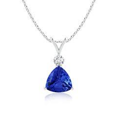 V Bale Diamond and Trillion Tanzanite Solitaire Pendant