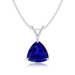 Claw-Set GIA Certified Trillion Tanzanite V-Bale Pendant