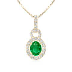 Floating Oval Emerald Pendant with Diamond Halo