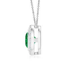 Round Bezel Set Emerald Pendant with Diamond Halo