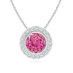 Round Bezel Set Pink Sapphire Pendant with Diamond Halo