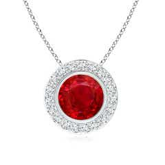 Round Bezel-Set Ruby Pendant with Diamond Halo