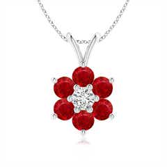 Classic Six Petal Ruby Flower Pendant with Diamond