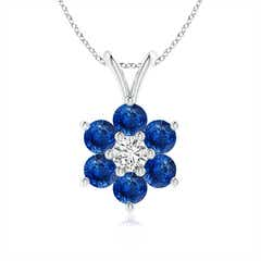 Classic Six Petal Sapphire Flower Pendant with Diamond