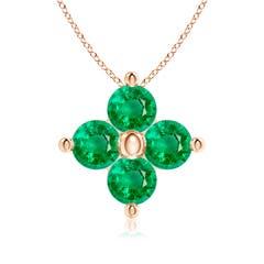 Classic Emerald Four Petal Clover Pendant
