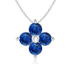 Classic Round Sapphire Clover Pendant