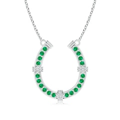 Pave-Set Emerald and Diamond Horseshoe Pendant Necklace
