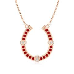 Angara Ruby Calla Lily Pendant Necklace with Diamond Accents FbcpsNekSd