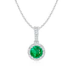 Round Emerald Dangle Pendant with Diamond Halo