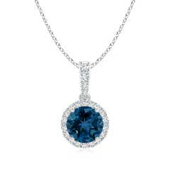 Round London Blue Topaz Dangle Pendant with Diamond Halo