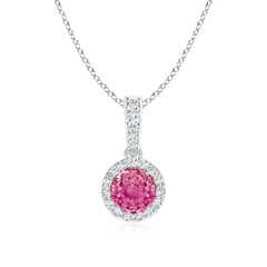 Dangling Pink Sapphire Pendant Necklace with Diamond Halo
