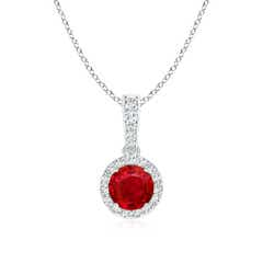 Round Ruby Dangle Pendant with Diamond Halo