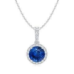 Round Sapphire Dangle Pendant with Diamond Halo