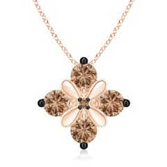 Coffee Diamond Floral Cluster Pendant